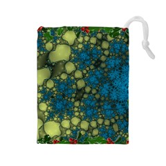 Holly Frame With Stone Fractal Background Drawstring Pouches (Large)