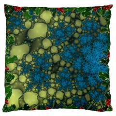 Holly Frame With Stone Fractal Background Large Flano Cushion Case (Two Sides)