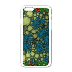 Holly Frame With Stone Fractal Background Apple iPhone 6/6S White Enamel Case