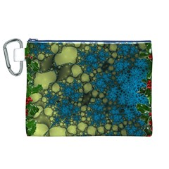 Holly Frame With Stone Fractal Background Canvas Cosmetic Bag (xl)