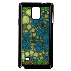 Holly Frame With Stone Fractal Background Samsung Galaxy Note 4 Case (black)