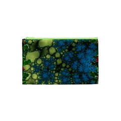 Holly Frame With Stone Fractal Background Cosmetic Bag (XS)
