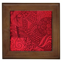 Deep Red Background Abstract Framed Tiles
