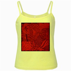 Deep Red Background Abstract Yellow Spaghetti Tank