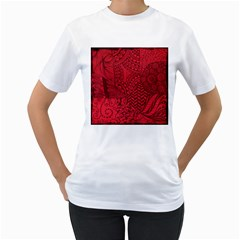 Deep Red Background Abstract Women s T-Shirt (White) (Two Sided)