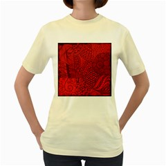 Deep Red Background Abstract Women s Yellow T Shirt