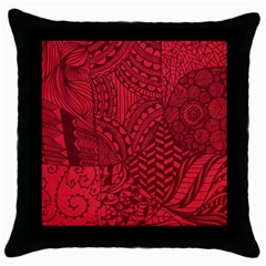 Deep Red Background Abstract Throw Pillow Case (Black)