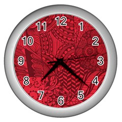 Deep Red Background Abstract Wall Clocks (silver)