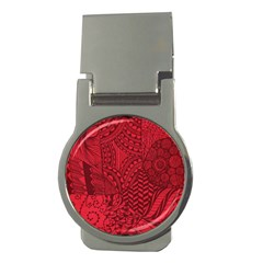 Deep Red Background Abstract Money Clips (Round)