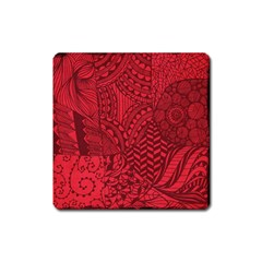 Deep Red Background Abstract Square Magnet