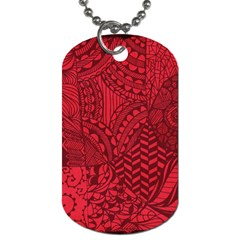 Deep Red Background Abstract Dog Tag (two Sides)