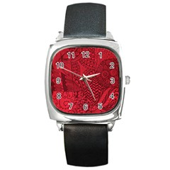 Deep Red Background Abstract Square Metal Watch