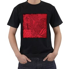 Deep Red Background Abstract Men s T Shirt (black) (two Sided)