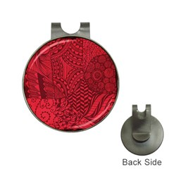 Deep Red Background Abstract Hat Clips With Golf Markers