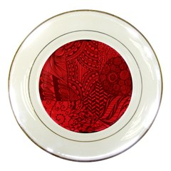 Deep Red Background Abstract Porcelain Plates
