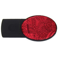 Deep Red Background Abstract USB Flash Drive Oval (4 GB)