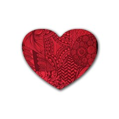Deep Red Background Abstract Rubber Coaster (heart)