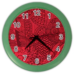 Deep Red Background Abstract Color Wall Clocks