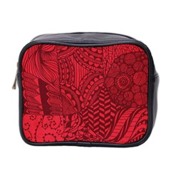 Deep Red Background Abstract Mini Toiletries Bag 2 Side
