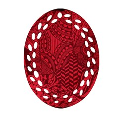 Deep Red Background Abstract Oval Filigree Ornament (two Sides)