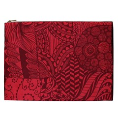 Deep Red Background Abstract Cosmetic Bag (XXL)