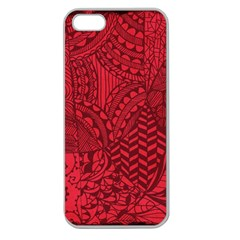 Deep Red Background Abstract Apple Seamless iPhone 5 Case (Clear)