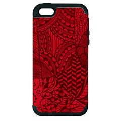 Deep Red Background Abstract Apple iPhone 5 Hardshell Case (PC+Silicone)