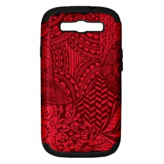 Deep Red Background Abstract Samsung Galaxy S III Hardshell Case (PC+Silicone)