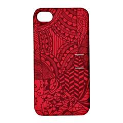 Deep Red Background Abstract Apple iPhone 4/4S Hardshell Case with Stand