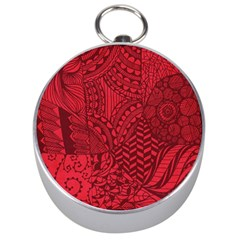 Deep Red Background Abstract Silver Compasses