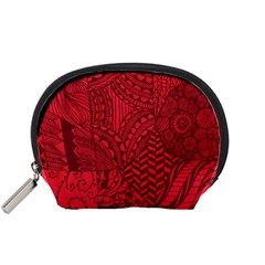 Deep Red Background Abstract Accessory Pouches (small)