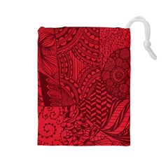 Deep Red Background Abstract Drawstring Pouches (Large)