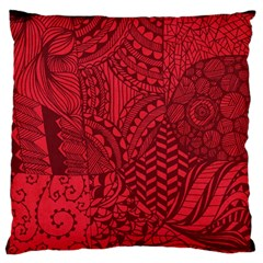 Deep Red Background Abstract Large Flano Cushion Case (one Side)