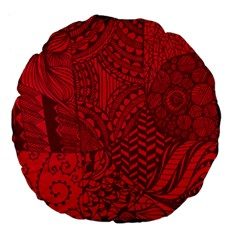 Deep Red Background Abstract Large 18  Premium Flano Round Cushions