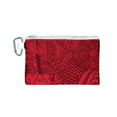 Deep Red Background Abstract Canvas Cosmetic Bag (S)