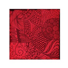Deep Red Background Abstract Small Satin Scarf (Square)