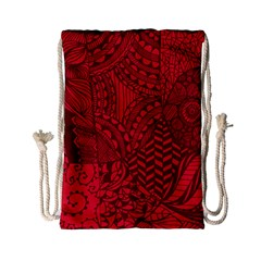 Deep Red Background Abstract Drawstring Bag (small)
