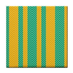 Green And Orange Herringbone Wallpaper Pattern Background Tile Coasters