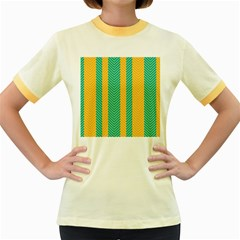Green And Orange Herringbone Wallpaper Pattern Background Women s Fitted Ringer T Shirts