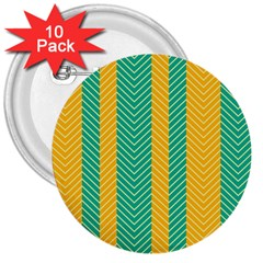 Green And Orange Herringbone Wallpaper Pattern Background 3  Buttons (10 pack)