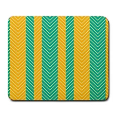 Green And Orange Herringbone Wallpaper Pattern Background Large Mousepads
