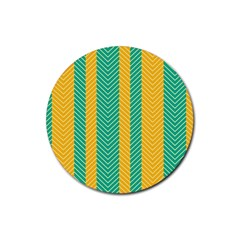 Green And Orange Herringbone Wallpaper Pattern Background Rubber Coaster (Round)