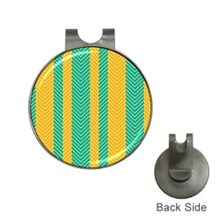 Green And Orange Herringbone Wallpaper Pattern Background Hat Clips With Golf Markers