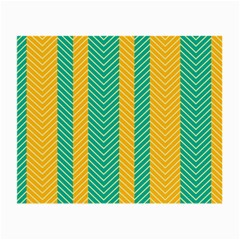 Green And Orange Herringbone Wallpaper Pattern Background Small Glasses Cloth (2-Side)