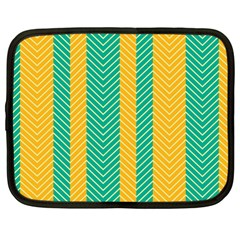 Green And Orange Herringbone Wallpaper Pattern Background Netbook Case (large)