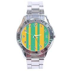 Green And Orange Herringbone Wallpaper Pattern Background Stainless Steel Analogue Watch