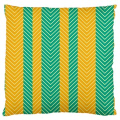 Green And Orange Herringbone Wallpaper Pattern Background Large Cushion Case (Two Sides)