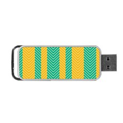 Green And Orange Herringbone Wallpaper Pattern Background Portable USB Flash (Two Sides)