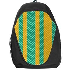 Green And Orange Herringbone Wallpaper Pattern Background Backpack Bag