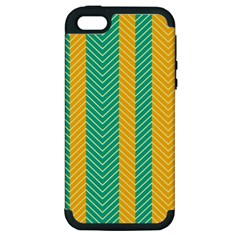 Green And Orange Herringbone Wallpaper Pattern Background Apple iPhone 5 Hardshell Case (PC+Silicone)